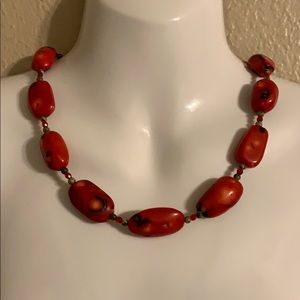 Large chunky red coral necklace
